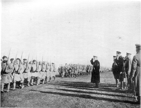 Adm. Kolchak inspecting the troops - 1919