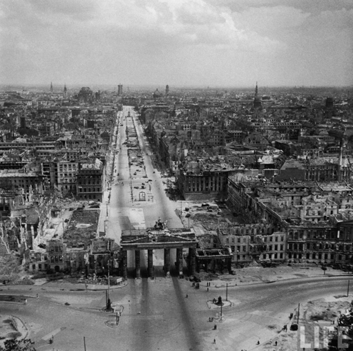 Aerial view of Russian controlled Berlin beyond the Brandenburg Gate.  July 1945