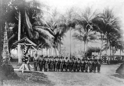 Paupan recruits during drill in German New Guinea - 1910