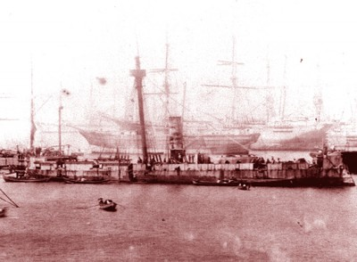 Peruvian Warship Huáscar lost in the Battle of Angamos in 1879.  Second in command was Elías Aguirre from Chiclayo.