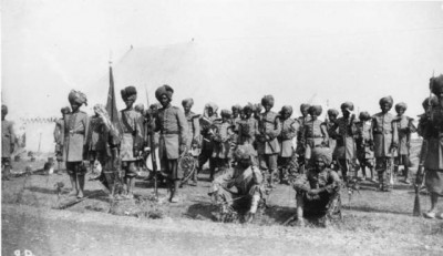 Bahawalpur's infantry outside tents, photo by Gertrude Bell, 6 Jan, 1903