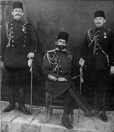 Edhem Pasha with two of the Sultan's aides-de-camp during the Greco-Turkish War of 1897