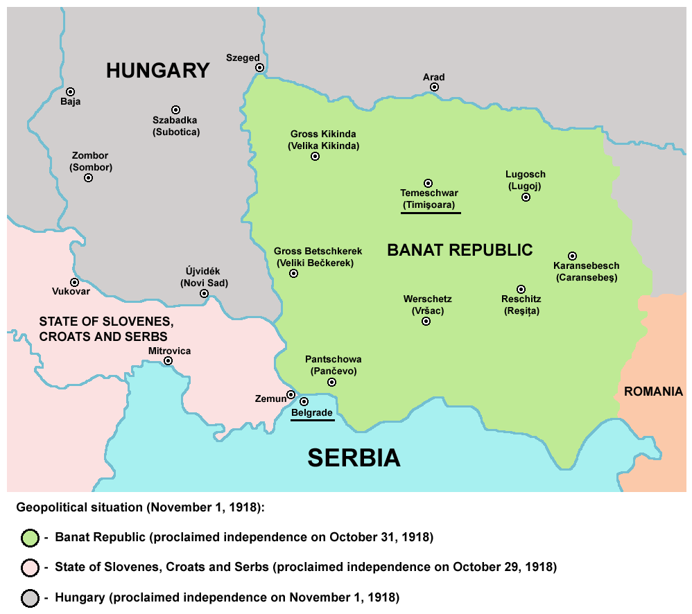 CEE - Temesvar, Serbian Occupation Map