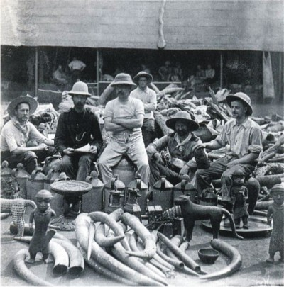 Members of the British Punitive Expedition against Benin from the Niger Coast Protectorate posing with looted ivories and bronze objects. (1897)