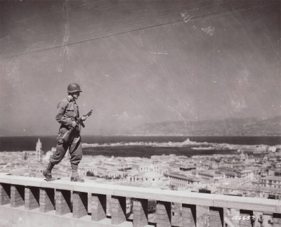 A GI walks guard duty over Naples - from liberationtrilogy.com