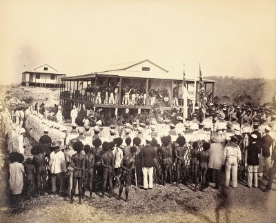 The Proclamation of British New Guinea at Port Moresby, 6 Nov, 1884 from the Cambridge University Library