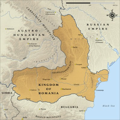 The Kingdom of Romania in 1916 map from: http://www.nzhistory.net.nz/media/photo/map-kingdom-romania-1916