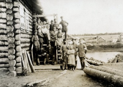 Finnish Officers and villagers in Aunus (Olonets) - 13 Jun, 1919