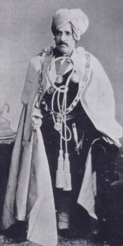Sir Shamsher Prakash Bahadur, Raja of Sirmur, ruled 1856 - 1898  (from www.royalark.net)