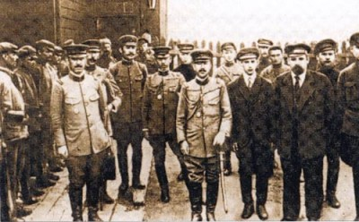 Representatives of the Far Eastern Republic meet with Japanese Military Officers in July, 1920 at Gongota station, Transbaikal territory.  (Trans-Siberian Photo Gallery)