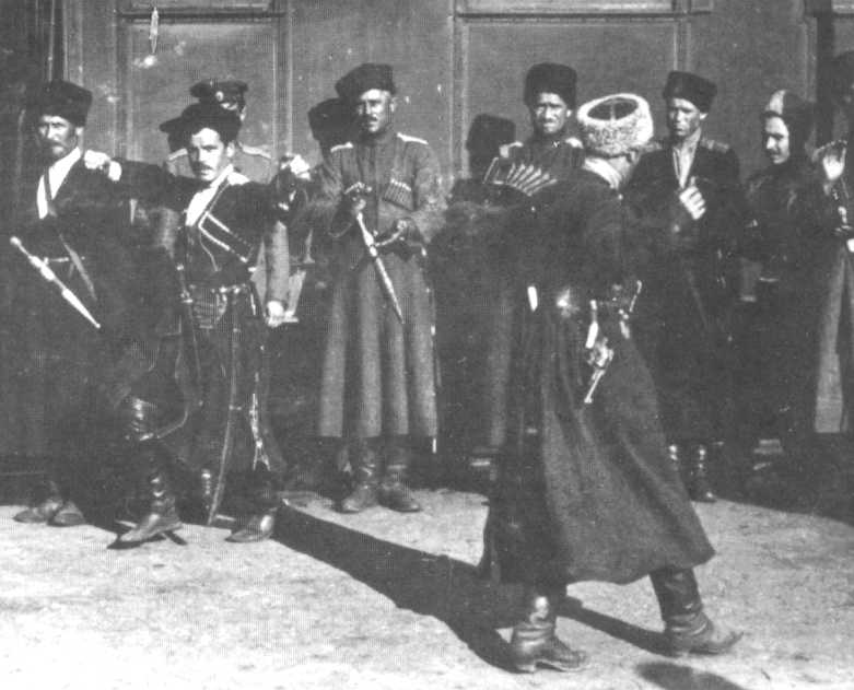 White Cossacks, presumably Kuban, dancing outside a train From http://pygmy-wars.50megs.com/